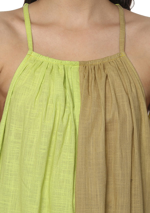 Beige Lime Green Sleeveless Cotton Long Dress