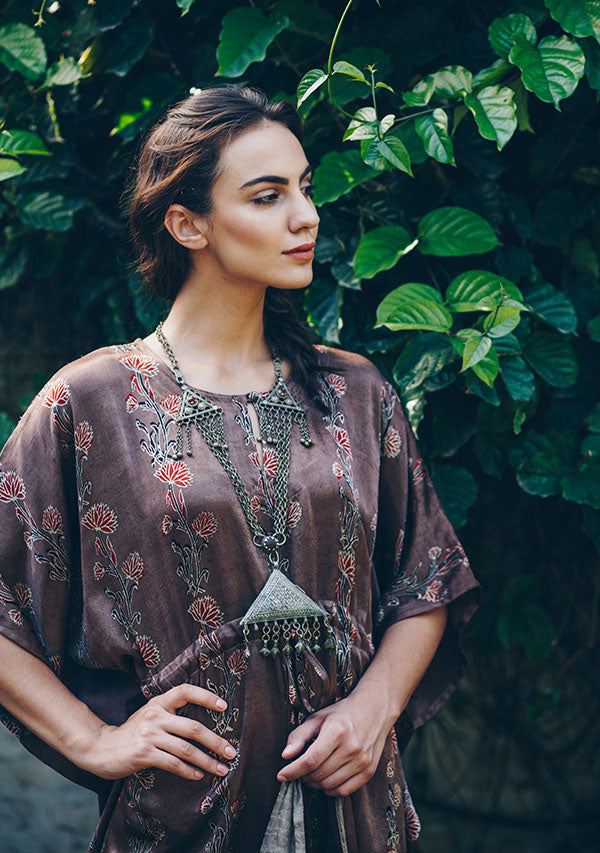 Chestnut Brown Red Hand Block Printed Mushru Luxury Kaftan Dress
