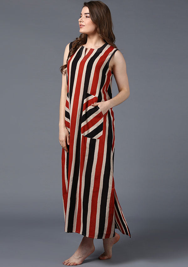 Red Black Beige Striped Hand Block Printed Sleeveless Nighty Dress with Pockets