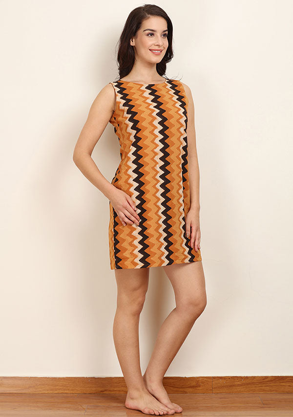 Mustard White Chevron Hand Block Printed Sleeveless Cotton Dress with Zip Detail