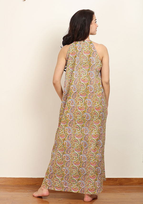 Green Pink Paisley Hand Block Printed Sleeveless Cotton Long Dress