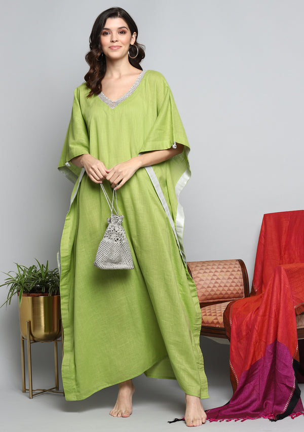 Lime Green Luxury Cotton  Kaftan with Hand Crocheted Antique Silver Zari Neckline
