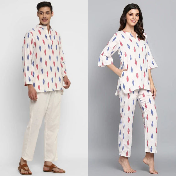 "Ivory Blue Read Ikat Weave Cotton Loungewear for ""HIM & HER"""