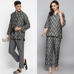 "Grey Ivory Ikat Weave Cotton Loungewear for ""HIM & HER"""