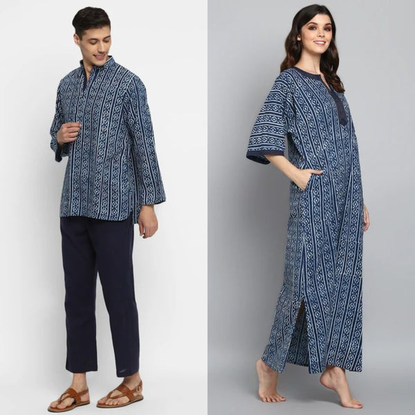 "Indigo Hand Block Printed Cotton Loungewear for ""HIM & HER"""