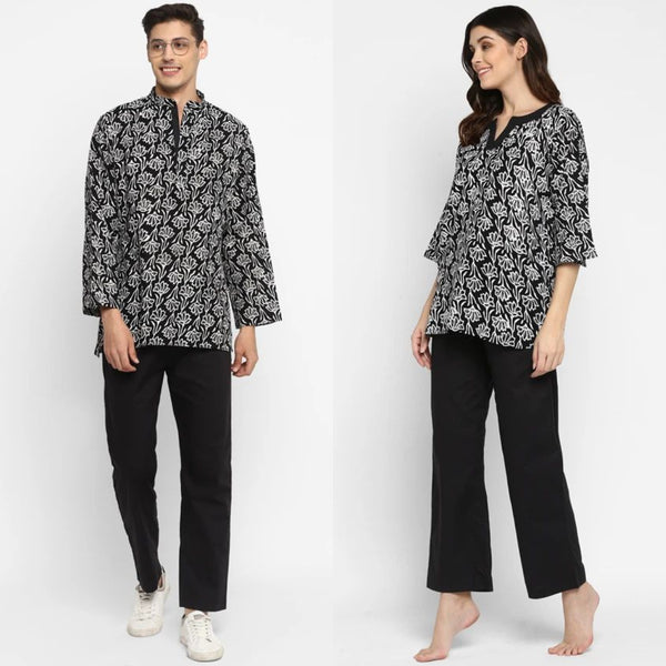 "Couple's Wear - Black White Hand Block Printed Cotton Loungewear for ""HIM & HER"""