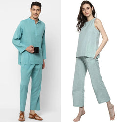 "Couple's Wear - Aqua Cotton Loungewear for ""HIM & HER"""