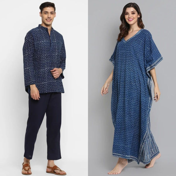 "Couple's Wear - Indigo Hand Block Printed Cotton Loungewear for ""HIM & HER"""