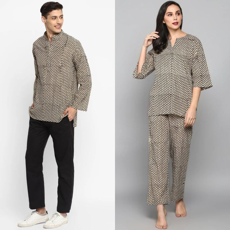 "Couple's Wear - Black Ivory Hand Block Printed Cotton Loungewear for ""HIM & HER"""