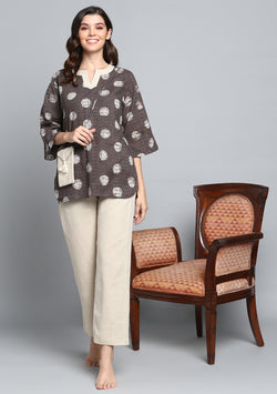Brown Beige Hand Block Printed Floral Cotton Night Suit With Ivory Sling Bag