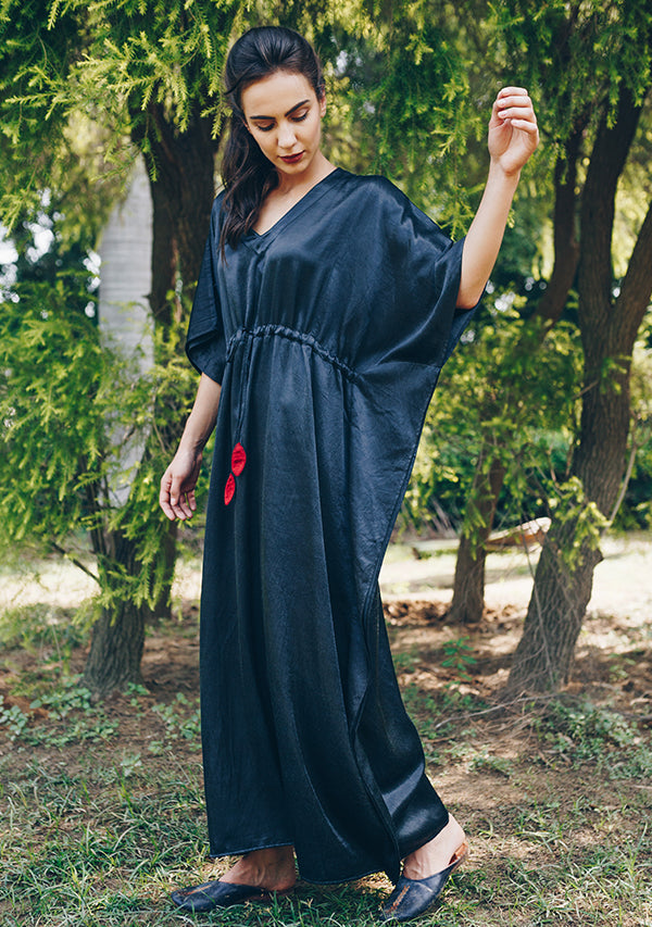 Black Mushru Luxury Kaftan with Tie-Up Waist and Contrast Red Trimmings