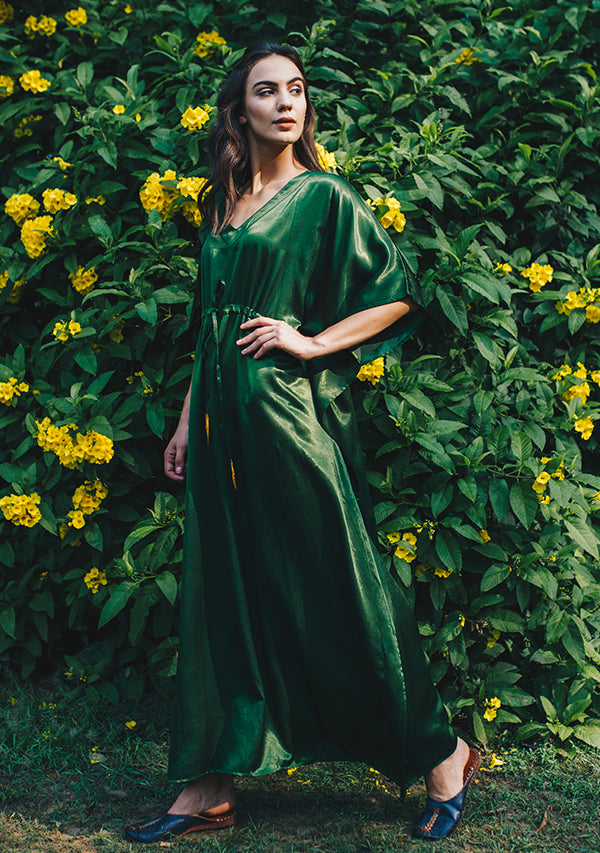 Bottle Green Mushru Luxury Kaftan with Tie-Up Waist and Contrast Mustard Trimmings