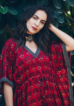 Red Black Lotus Motif Mushru Luxury Kaftan with Tie-Up Waist and Silver Embellishments on the Neck and Hemline