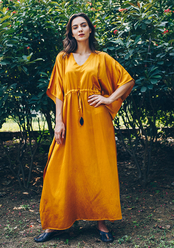Mustard Yellow Mushru Luxury Kaftan with Tie-Up Waist and Contrast blue Trimmings