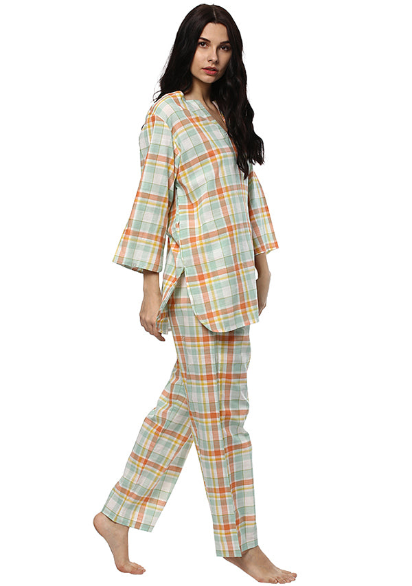 Peach Blue Check Printed Cotton Night Suit