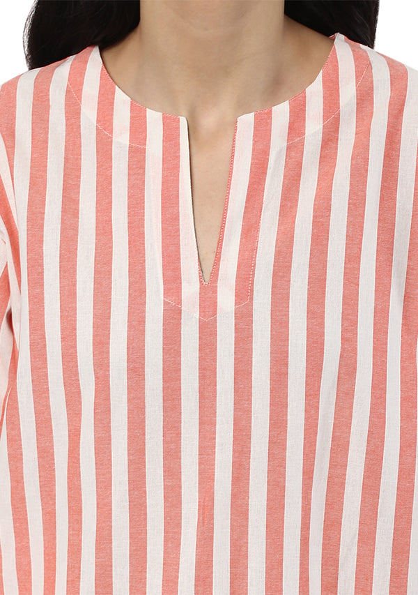 Peach Pink and White Striped Cotton Night Suit