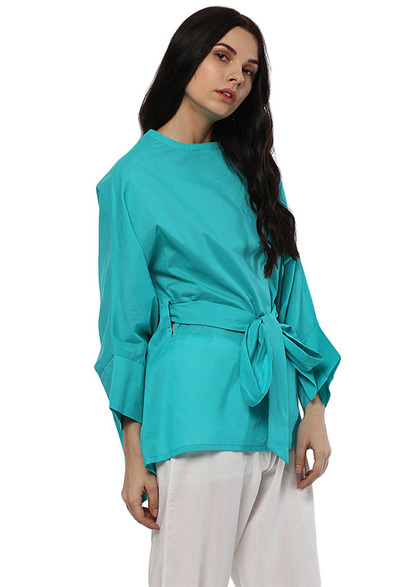 Turquoise Short Cotton Kaftan with Tie-Up Belt paired with White Pyjamas