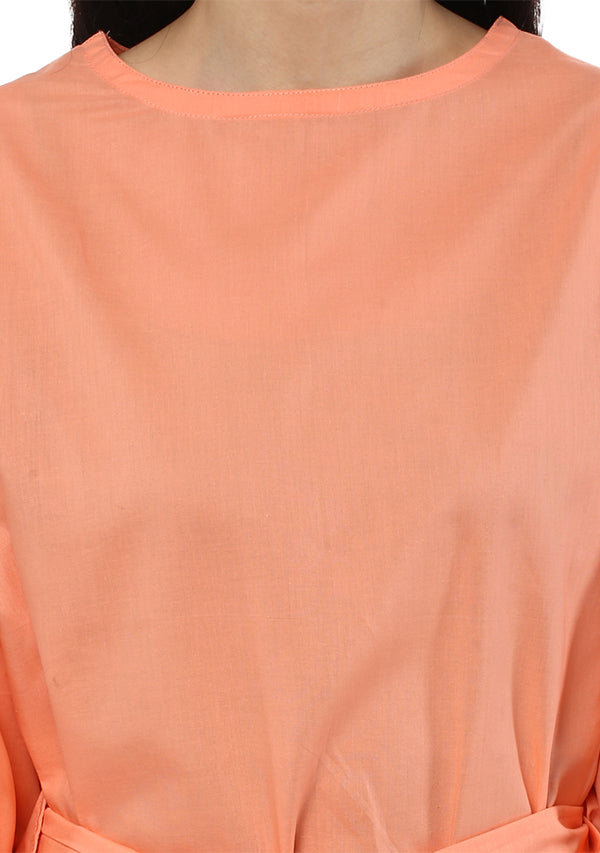 Peach Short Cotton Kaftan with Tie-Up Belt paired with White Pyjamas