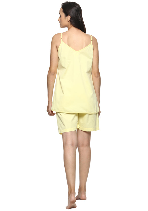 Lemon Yellow Cotton Camisole paired with Elasticated Cotton Shorts