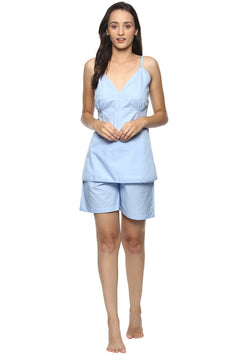 Blue Cotton Camisole paired with Elasticated Cotton Shorts