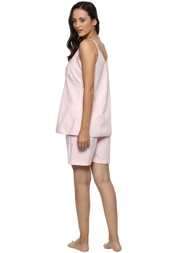 Pink Cotton Camisole paired with Elasticated Cotton Shorts