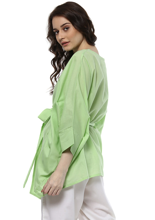 Lime Green Short Cotton Kaftan with Tie-Up Belt paired with White Pyjamas