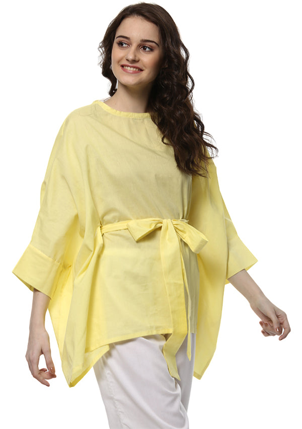 Yellow Short Cotton Kaftan with Tie-Up Belt paired with White Pyjamas