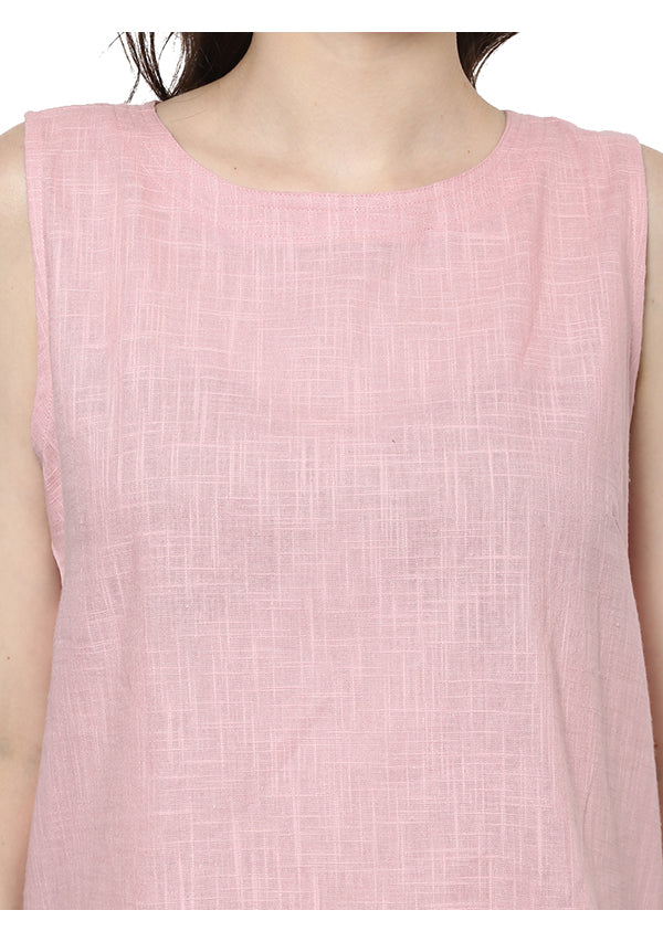 Baby Pink Sleeveless Cotton Yoga Wear