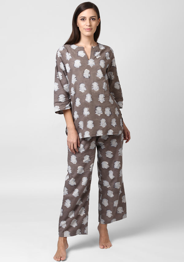 Beige Ivory Flower Motif Hand Block Printed Cotton Night Suit