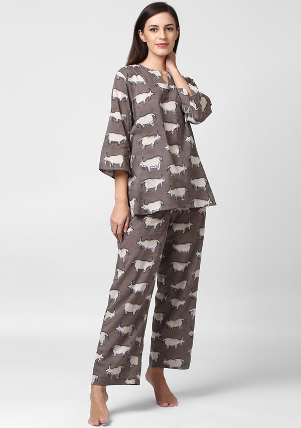 Beige Ivory Bull Motif Hand Block Printed Cotton Night Suit