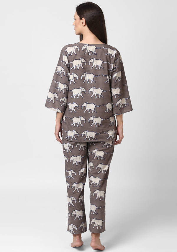 Beige Ivory Elephant Motif Hand Block Printed Cotton Night Suit