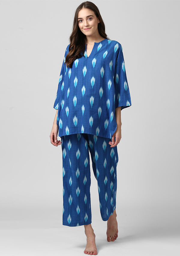 Blue Turquoise Ikat Weave Cotton Night Suit