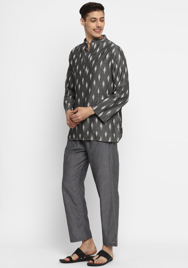 Grey Ivory Ikat Weave Cotton Shirt and Pyjamas For Men