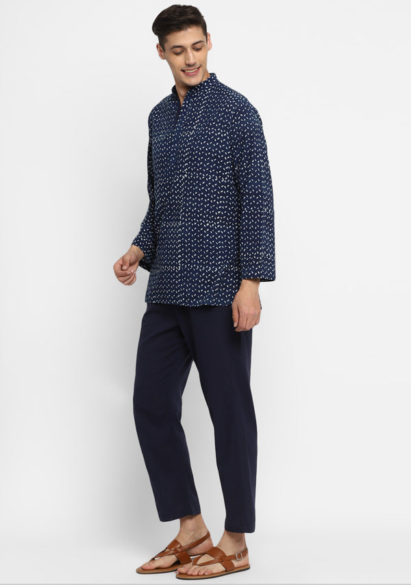 Indigo Ivory  Hand Block Printed Cotton Shirt and Pyjamas For Men