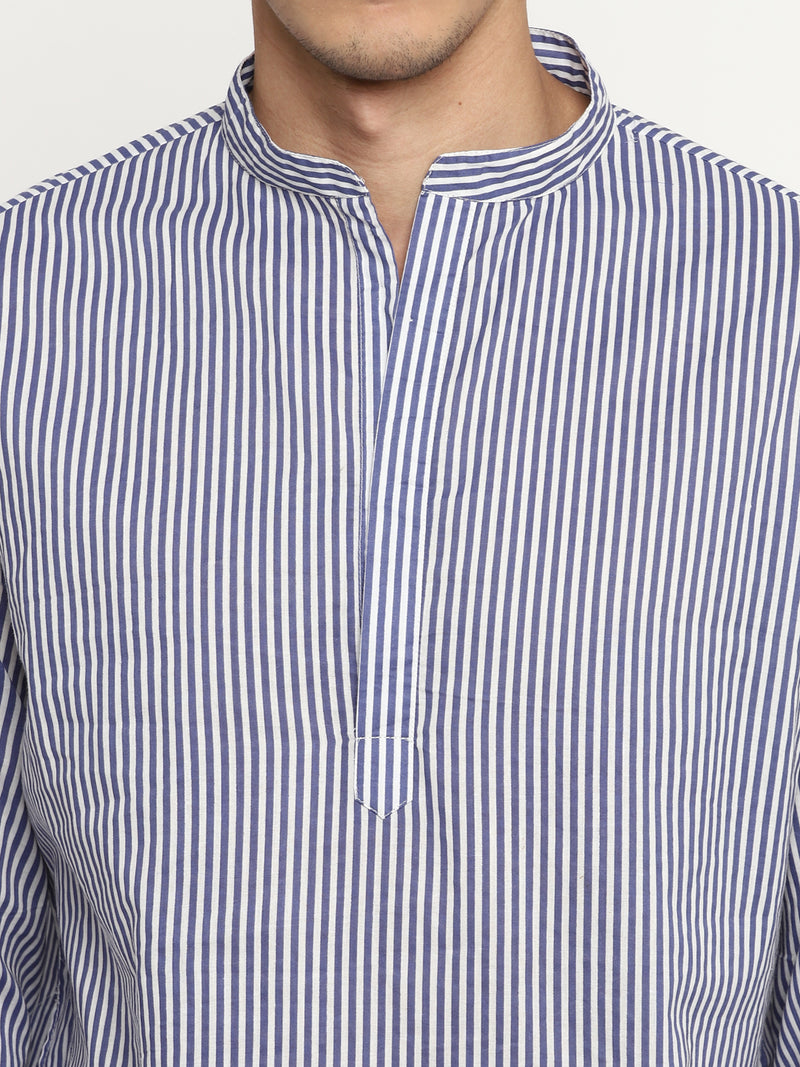 Navy Blue White Striped Cotton Shirt and Pyjamas For Men