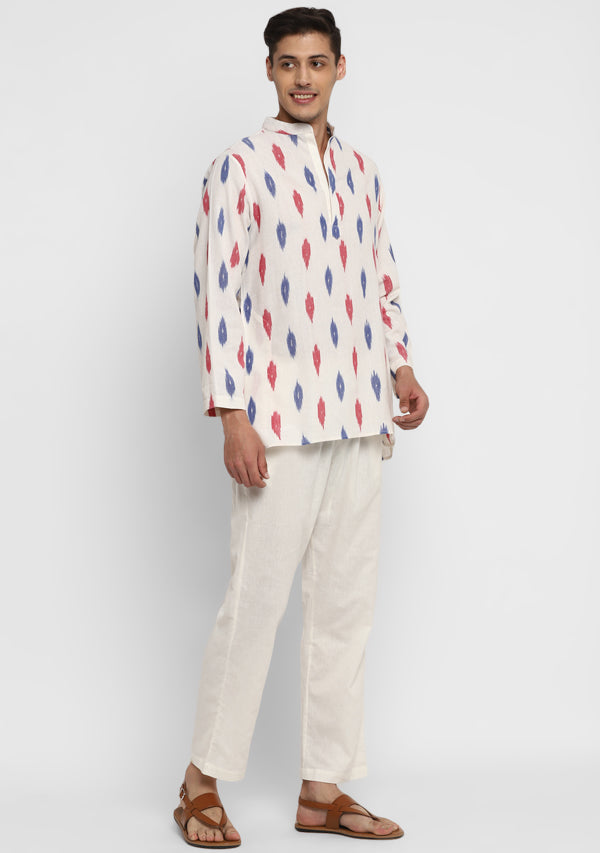 Ivory Blue and Red Ikat Weave Cotton Shirt and Pyjamas For Men