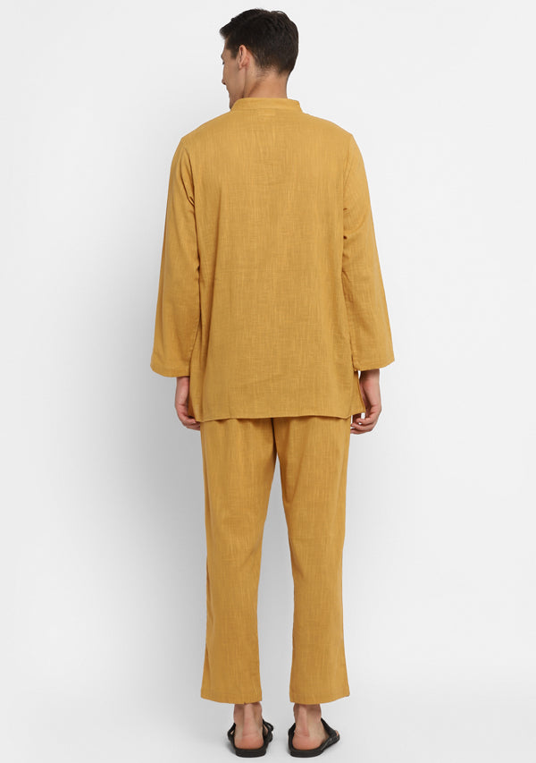Mustard Cotton Shirt and Pyjamas For Men