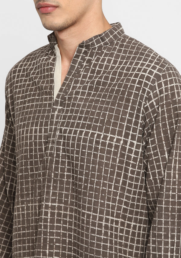 Brown Beige Hand Block Printed Cotton Shirt and Pyjamas For Men