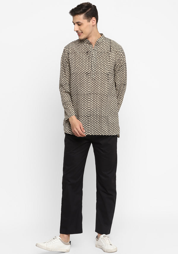 Black Ivory Hand Block Printed Cotton Shirt and Pyjamas For Men