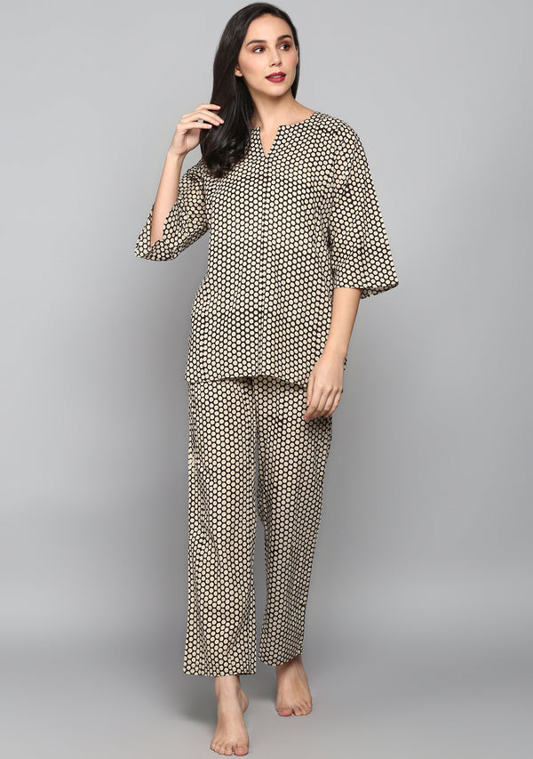 Black White Hand Block Polka Dot Printed Cotton Night Suit