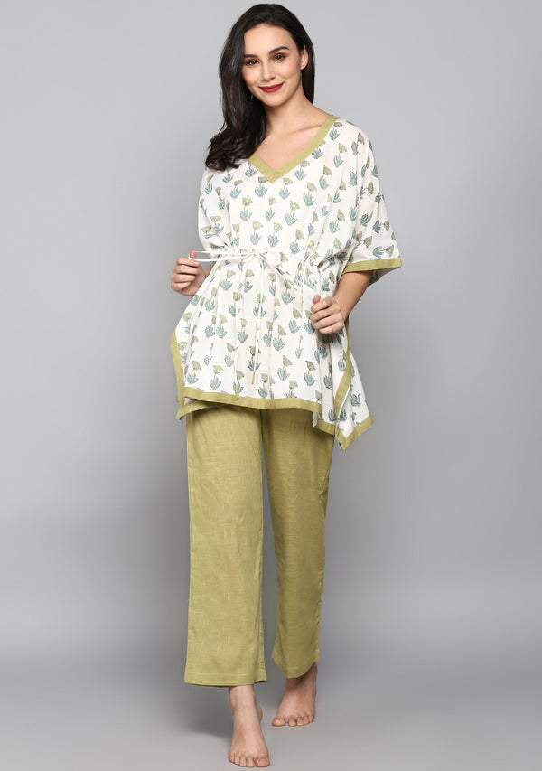 White Khaki Hand Block Flower Motif Printed Short Kaftan with Pyjamas