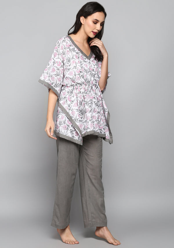 Grey Pink Hand Block Floral Printed Short Kaftan with Pyjamas