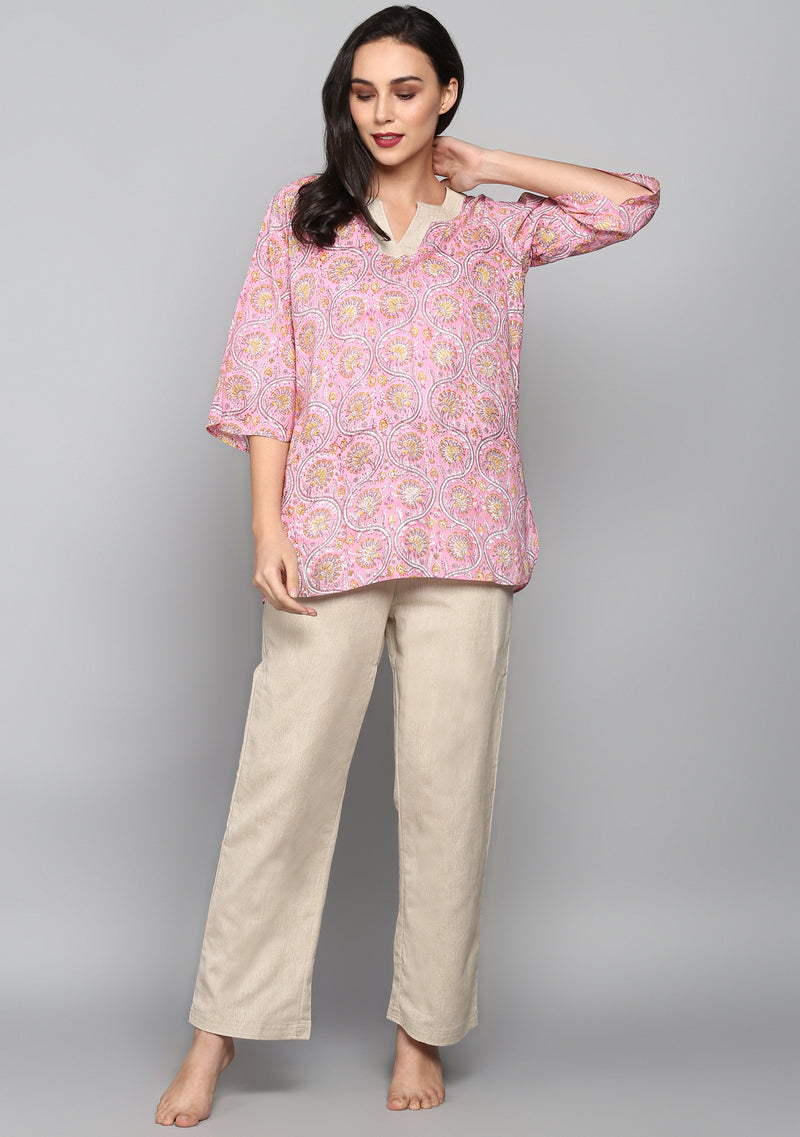 Pink Beige Hand Block Floral Printed Cotton Night Suit