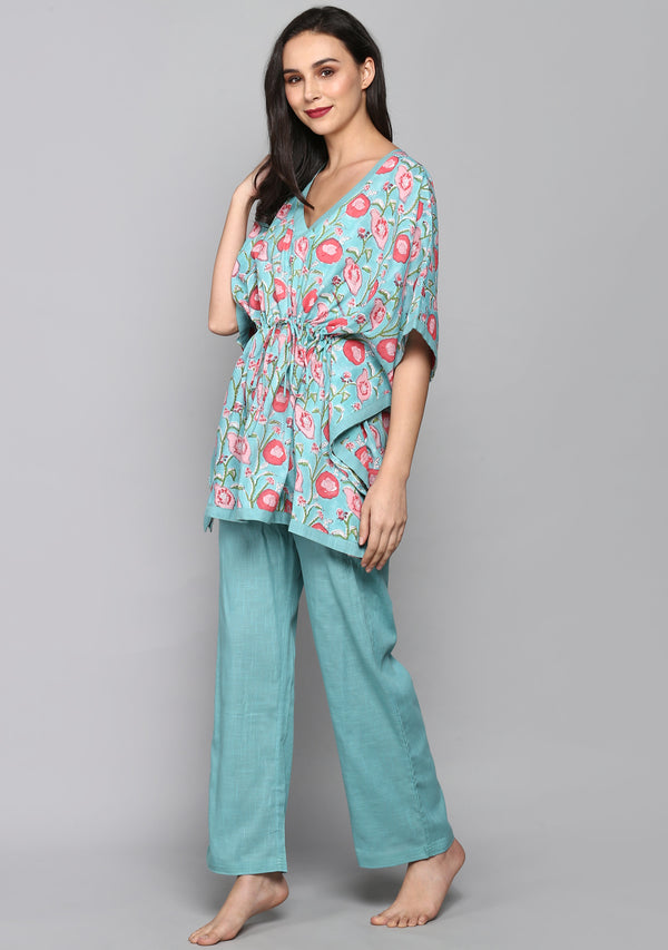 Turquoise Pink Hand Block Floral Printed Short Kaftan with Pyjamas
