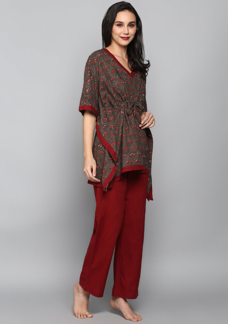 Grey Maroon Hand Block Printed Flower Motif Short Kaftan Tunic