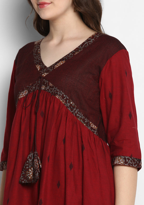 Adaa Maroon Black Cotton Kurta with Printed Trimmings