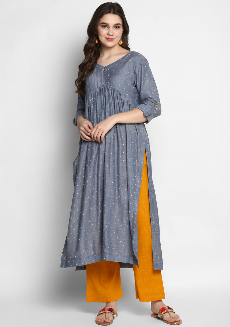 Grey Mustard Cotton Dobby Kurta paired with Pants