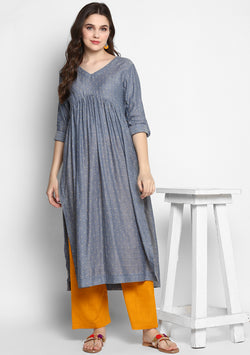Grey Mustard Cotton Dobby Kurta with Contrast Pants