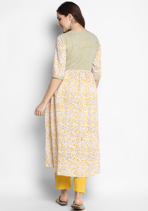 White Yellow Hand Block Printed Kurta with Striped Trimmings paired with Yellow Pants