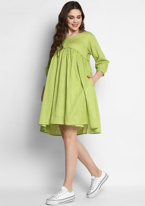 Parrot Green Short Cotton Dress with Fitted Bodice and Gathers